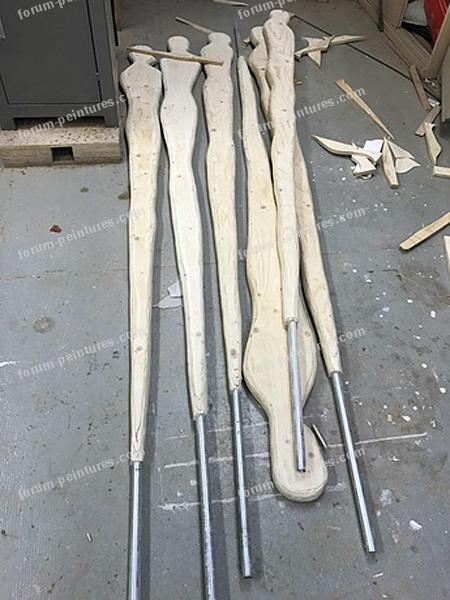 peinture sculptures bois extérieur